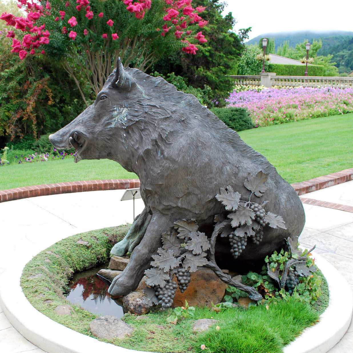 Cast bronze wild boar garden statue for sale
